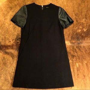 Massimo Dutti mini dress with leather sleeves
